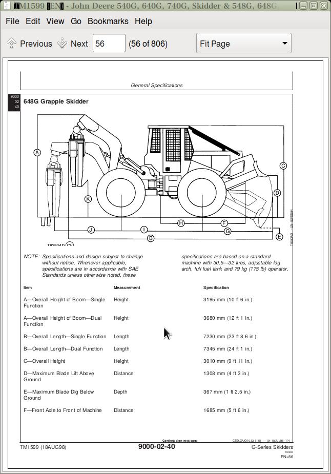 John Deere 540G, 640G, 740G Skidder & 548G, 648G, 748G