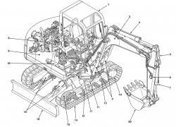 Takeuchi Compact Excavator TB070, TB070W Factory Service