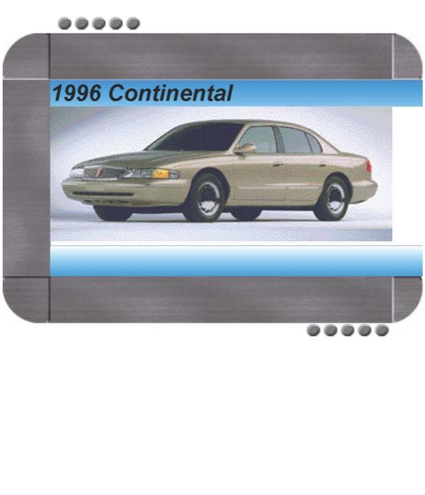 Lincoln Continental 1996 Factory Service & Shop Manual ...