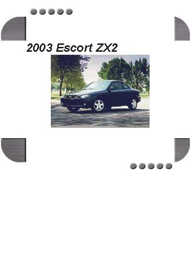 Ford Escort Zx2 2003 Factory Service  U0026 Shop Manual